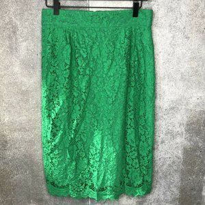 Womens 6 J.Crew Lace Pencil Skirt Emerald Green